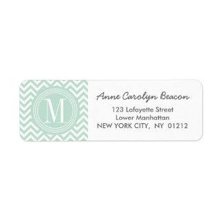 Light Mint Chevron Zigzag Personalized Monogram Return Address Label