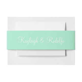 Light Mint Exclusive Color Coordinating Invitation Belly Band