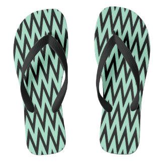 Light Mint Green and Black Zigzag Flip Flops