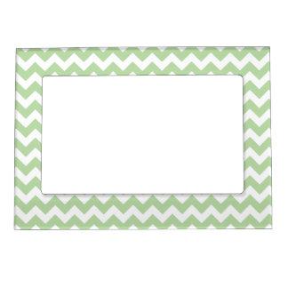 Light Mint Green Chevron Pattern Magnetic Frames