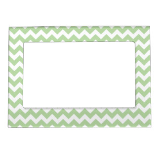 Light Mint Green Chevron Pattern Magnetic Picture Frame