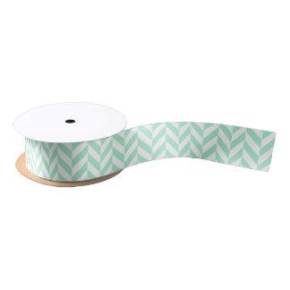 Light Mint Green Chevron Pattern Satin Ribbon