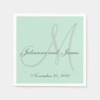 Light Mint Green Colored Monogram Paper Napkins