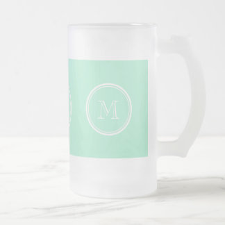 Light Mint Green High End Colored Frosted Glass Beer Mug