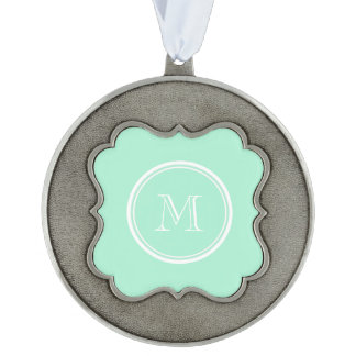 Light Mint Green High End Colored Scalloped Pewter Christmas Ornament