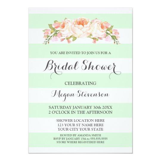 3141ff4a7d1d Light Mint Stripes Watercolor Floral Bridal Shower Invitation ...