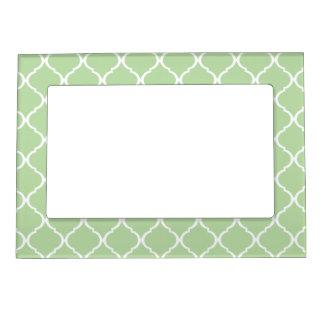 Light Mint White Moroccan Lattice Magnetic Photo Frame