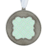 light multicolored green scalloped pewter ornament