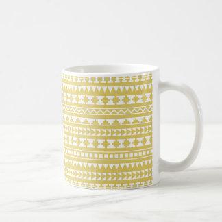 Light Mustard Yellow Aztec Tribal Pattern Coffee Mug