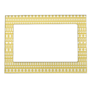 Light Mustard Yellow Aztec Tribal Pattern Magnetic Photo Frame