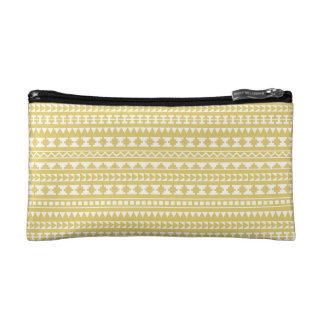 Light Mustard Yellow Aztec Tribal Pattern Makeup Bag