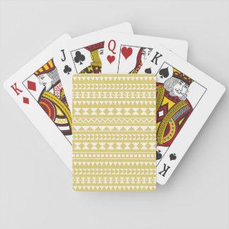 Light Mustard Yellow Aztec Tribal Pattern Card Deck