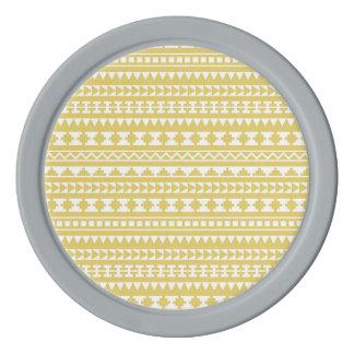 Light Mustard Yellow Aztec Tribal Pattern Set Of Poker Chips