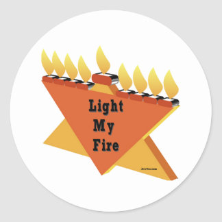 Light My Fire Hanukkah Gift Classic Round Sticker
