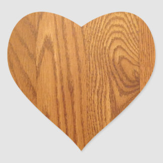 Light Natural Wood Grain Heart Sticker