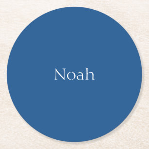 Delightful Light Navy Blue Customizable Round Paper Coaster Nice Look