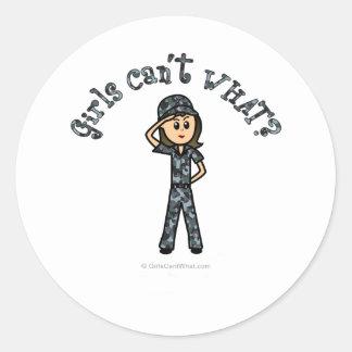 Light Navy Girl Classic Round Sticker