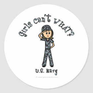 Light Navy Girl USA Classic Round Sticker