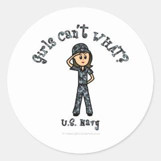Light Navy Girl USA Classic Round Sticker