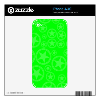 Light Neon Green Stars in Circles on Neon Green iPhone 4 Decals