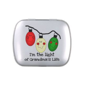 Light of Grandma's Life Tins and Jars w. Candy Jelly Belly Candy Tin