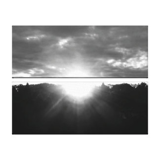Light of Hope Sunrise Monochrome Canvas Print