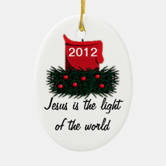 Light of the World Double-Sided Oval Ceramic Christmas Ornament