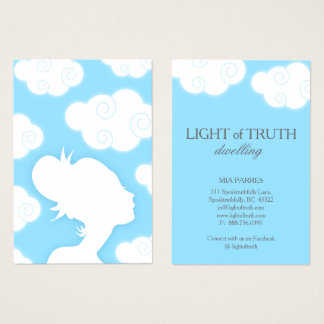 Light of Truth Sky Clouds Woman Bun Silhouette Business Card