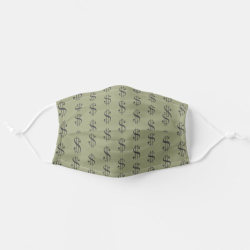 Light Olive Drab Dollar Signs Pattern US Economy Cloth Face Mask