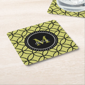 Light Olive Green Black Abstract Circles Pattern Square Paper Coaster