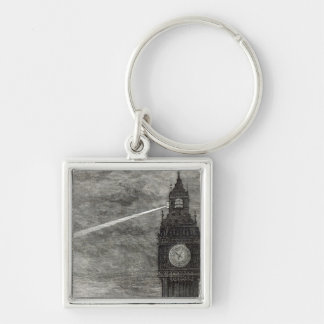 Light on the Clock Tower, Houses of Parliament Silver-Colored Square Keychain