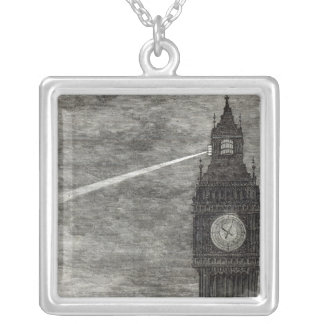 Light on the Clock Tower, Houses of Parliament Silver Plated Necklace