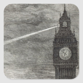 Light on the Clock Tower, Houses of Parliament Square Sticker