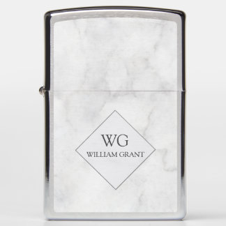Light on the first Try! White Marble Monogram Zippo Lighter