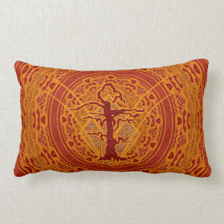 Light Orange Abstract Old Withered Tree Lumbar Pillow
