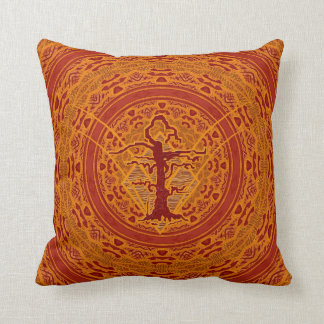 Light Orange Abstract Old Withered Tree Pillows