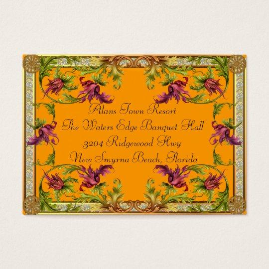 Light Orange B Additional Information For Wedding Business Card