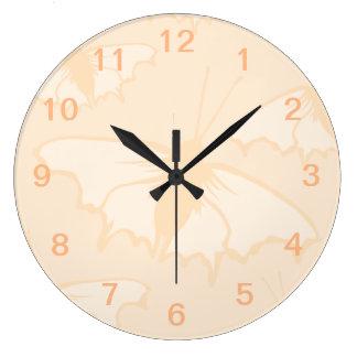 Light Orange Peach Color Butterfly Design. Large Clock