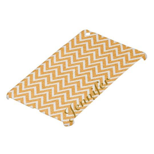Light Orange & White Chevron Pattern Linen Look iPad Mini Cases