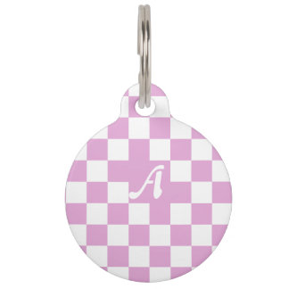Light Orchid and White Checkered Monogram Pet Name Tag