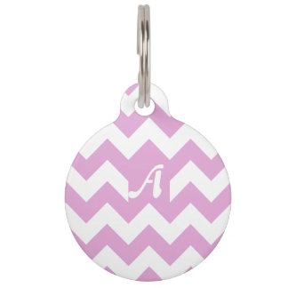 Light Orchid and White Zigzag Monogram Pet Tags