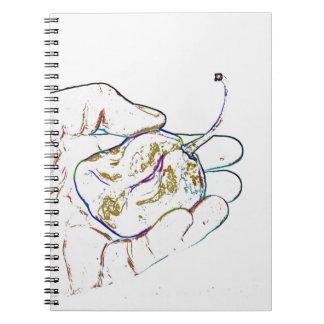 light outline pepper hand colorful food image spiral notebook