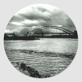 Light over the harbour classic round sticker