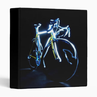 Light painting : a blue and yellow bike - vinyl binders