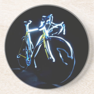 Light painting : a blue and yellow bike - drink coaster