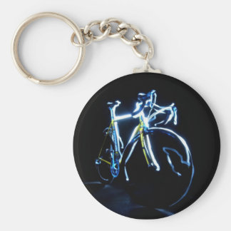 Light painting : a blue and yellow bike - keychain