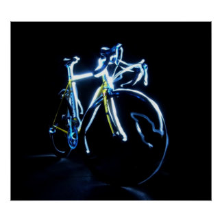 Light painting : a blue and yellow bike - posters