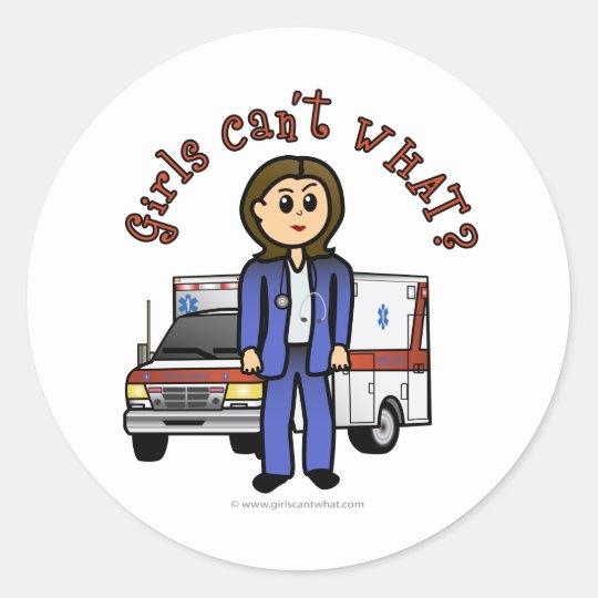 Light Paramedic Girl Classic Round Sticker