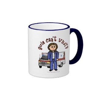 Light Paramedic Girl Ringer Coffee Mug