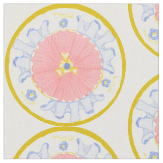 Light Passion Bloom Floral Medallion Plate Fabric